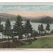 Blythwood Island Loon Lake Chestertown NY New York Vintage Postcard