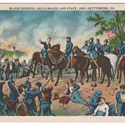 Major General Geo G Meade and Staff 1863 Gettysburg PA Vintage Postcard
