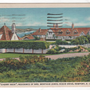 Cherry Neck Residence of Mrs Wortham James Ocean Drive Newport RI Rhode Island Vintage Postcar