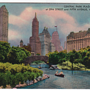 Central Park Plaza at 59th Street and Fifth Avenue New York City NY New York Vintage Postcard