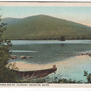 Moose Pond and Mt Pleasant Bridgton ME Maine Vintage Postcard