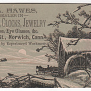 W A Hawes Watches Clocks Jewelry Norwich CT Connecticut Victorian Trade Card