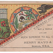 Canned Goods Henry Mayo & Co Boston MA Victorian Trade Card