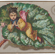 A Bright & Happy Christmas - Girl on a Leaf Victorian Christmas Card
