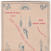 John W Steen Teas Coffees Spices & Sugars Philadelphia PA Victorian Trade Card