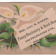 Mrs Geo M Baker Fancy Stationery & Book Store Philadelphia Victorian Trade Card