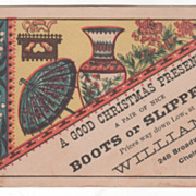 Boots or Slippers at Williams 248 Broadway Chelsea MA Victorian Trade Card