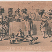 Clean Glass with Enoch Morgan's Sons Sapolio Cleaner Victorian Trade Card