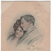 Unreadable Artist Signed Vintage Postcard of a Couple - 1907