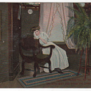 Women and Patriotic Vintage Postcard of Mother after Word of Soldier Son's Death