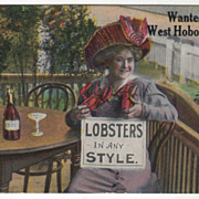 Women Vintage Postcard of Lobsters Any Style Wanted West Hoboken NJ New Jersey