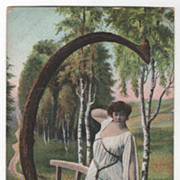 "Women Vintage Postcard Beauty Framed on a Bridge in a Wooden ""C"""