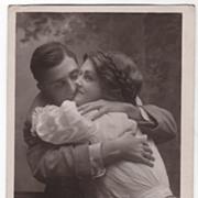 "RPPC Rotograph of a Couple Embracing ""Love Thy Neighbor"" Vintage Postcard"