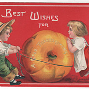 Artist Signed Clapsaddle Thanksgiving Large Pumpkin and Children Vintage Postcard