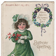 Birthday Greetings - Girl in a Snow Scene Vintage Postcard