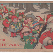 Christmas A Joyful Christmas Santa Leading Parade of Children Vintage Postcard