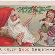 Christmas Santa with Elf Who Dances with Doll Vintage Postcard