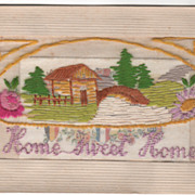 "Greeting ""Home Sweet Home"" and ""Sweetheart Mine"" Silk Thread Vintage Postc"