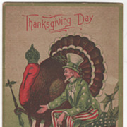 Gobbler with Crown Uncle Sam In Green Red White Thanksgiving Vintage Postcard