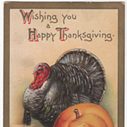 Thanksgiving Artist Signed Clapsaddle Gobbler and Harvest Goods Vintage Postcard