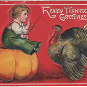 Thanksgiving Artist Signed Clapsaddle Boy on Pumpkin Gobbler Vintage Postcard