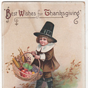 Artist Signed Clapsaddle Pilgrim Boy Basket Harvest Goods Vintage Postcard