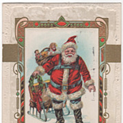 Santa Claus with Sleigh and a Bag of Toys Christmas Vintage Postcard