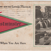 Westminster NH New Hampshire and Water Fall Scene Pennant Vintage Postcard