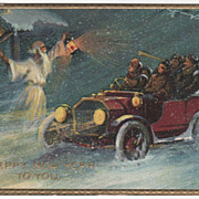 Father Time Ringing a Bell Early Automobile New Year Vintage Postcard