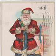 &quot;Christmas Greetings&quot; Santa Claus Filling Stockings Christmas Vintage Postcard