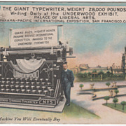 Giant Typewriter Panama Pacific Int Expo San Francisco CA Vintage Postcard