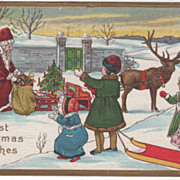 Christmas Children Watching Santa Claus at His Sleigh Vintage Postcard