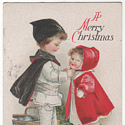 Artist Signed Clapsaddle Boy Helping Sister Put on Coat Vintage Postcard