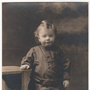 AZO RPPC Child Standing by a Table January 15 1919 Vintage Postcard