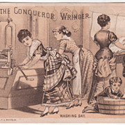 The Conqueror Wringer John H Ray Hardware Greenwich CT Connecticut Trade Card