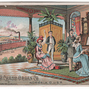 A B Chase Organ Co Norwalk OH Ohio Victorian Trade Card