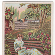 Davis Sewing Machine O J LeFaivre NYC NY New York Victorian Trade Card