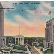 Civic Center Kansas City MO Missouri Vintage Postcard