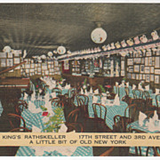 Joe King's Rathskeller 17th & 3rd Ave NYC NY New York Vintage Postcard