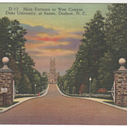 Main Entrance West Campus Duke University Durham NC Vintage Postcard