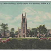 Main Quadrangle and Chapel Duke University Durham NC Vintage Postcard