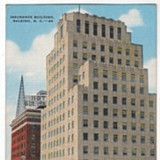 Insurance Building Raleigh NC North Carolina Vintage Postcard
