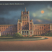 Ocean Forest Hotel Night Myrtle Beach SC South Carolina Vintage Postcard