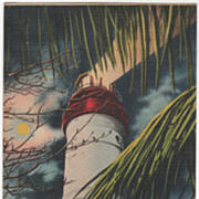 Lighthouse at Night Key West FL Florida Vintage Postcard