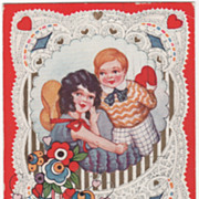 Boy with Valentine Heart behind Back for Pretty Girl Valentine Vintage Postcard