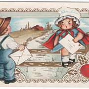 Farmer Boy and Girl on a Fence with Valentines Valentine Vintage Postcard