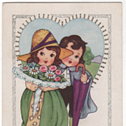 Girl with a Bouquet Boy with an Umbrella Valentine Vintage Postcard
