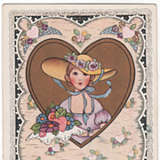 Young Woman in Big Hat with Bouquet Large Gold Heart Valentine Vintage Postcard