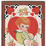 Red-Headed Child Eating Stick Candy Large Red Heart Valentine Vintage Postcard