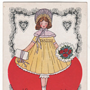 Girl with Paper Tied in Ribbon and Bouquet Valentine Vintage Postcard